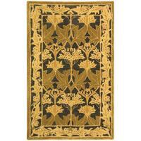 Safavieh Handmade Anatolia Oriental Traditional Navy/ Sage Green Hand-spun Wool Rug - 3' x 5'