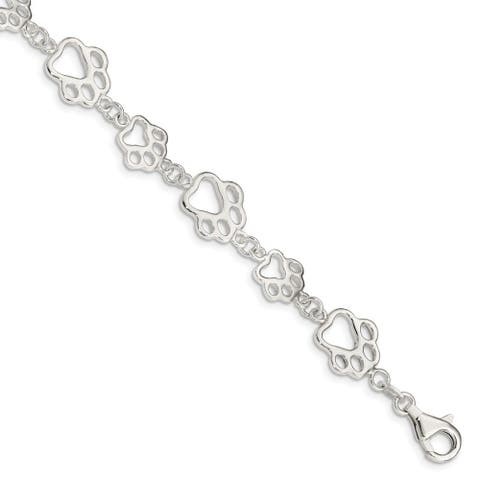 Curata 925 Sterling Silver Fancy Lobster Closure Polished Pet Paw Print Bracelet 7.5 Inch