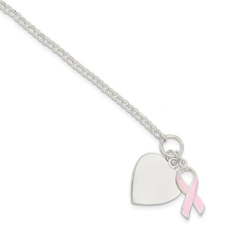 Curata 925 Sterling Silver Enamel Polished Engravable Toggle Closure Fancy Love Heart Pink Ribbon Bracelet 7.5 Inch