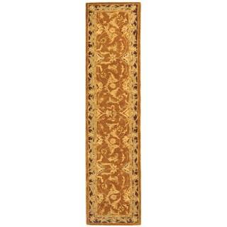 Safavieh Handmade Anatolia Oriental Traditional Hand-spun Brown Gold/ Plum Wool Runner (2'3 x 10')