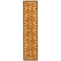 "Safavieh Handmade Anatolia Oriental Traditional Hand-spun Brown Gold/ Plum Wool Runner - 2'-3"" x 10'"