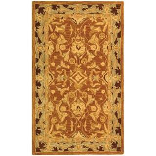 Safavieh Handmade Anatolia Oriental Traditional Hand-spun Brown Gold/ Plum Wool Rug (3' x 5')