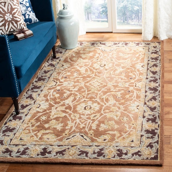 Safavieh Handmade Anatolia Oriental Traditional Hand-spun Brown Gold/ Plum Wool Rug - 5' x 8'