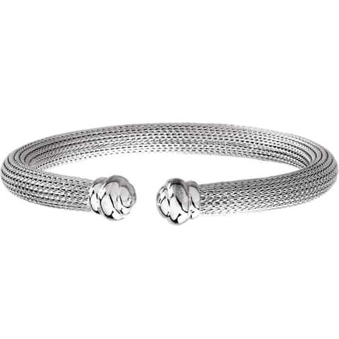 Curata 925 Sterling Silver Italian Mesh Cuff Bracelet 7.5 Inch
