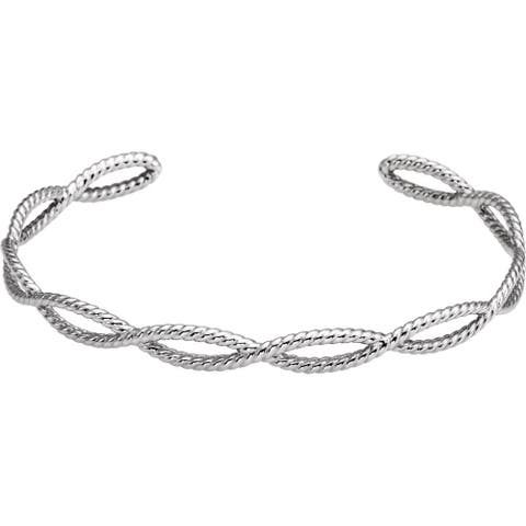 Curata 925 Sterling Silver Polished Rope Cuff Bracelet 7 Inch