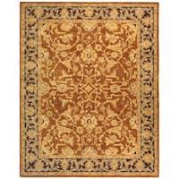 Safavieh Handmade Anatolia Oriental Traditional Hand-spun Brown Gold/ Plum Wool Rug - 9' x 12'