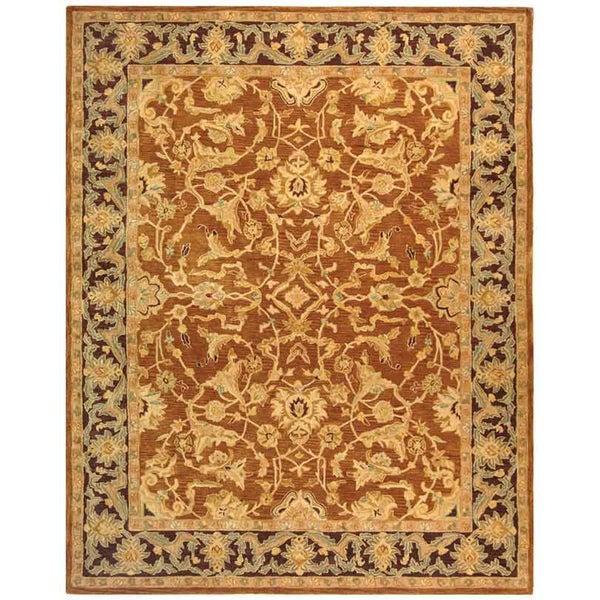 Safavieh Handmade Anatolia Oriental Traditional Hand-spun Brown Gold/ Plum Wool Rug (9' x 12')