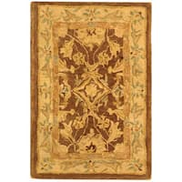 Safavieh Handmade Anatolia Oriental Traditional Brown/ Tan Hand-spun Wool Rug (2' x 3')