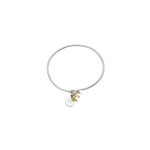 Curata 14k Yellow Gold and 925 Sterling Silver 7 Inch Hope Disk Love Heart with Angel Wings Coil Cuff Stackable Bangle Bracelet