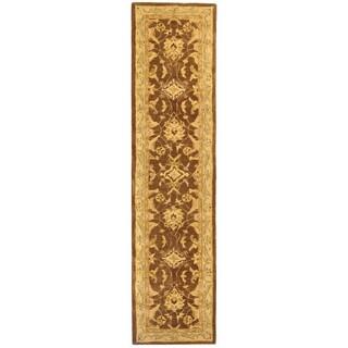 Safavieh Handmade Anatolia Oriental Traditional Brown/ Tan Hand-spun Wool Runner (2'3 x 12')