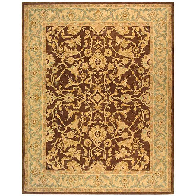 Safavieh Handmade Anatolia Oriental Traditional Brown/ Tan Hand-spun Wool Rug (9' x 12') - Thumbnail 0