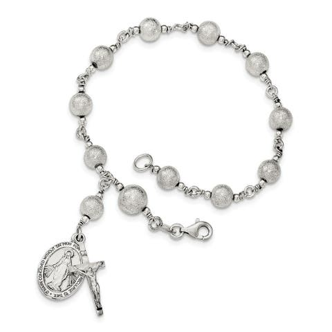 Curata 925 Sterling Silver Polished Laser cut Rosary Bracelet 7.75 Inch Jewelry Gifts for Women