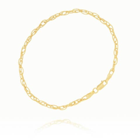 Curata 14k Yellow Gold Hollow Textured Double Cable Chain Bracelet 7.25 Inch Jewelry Gifts for Women