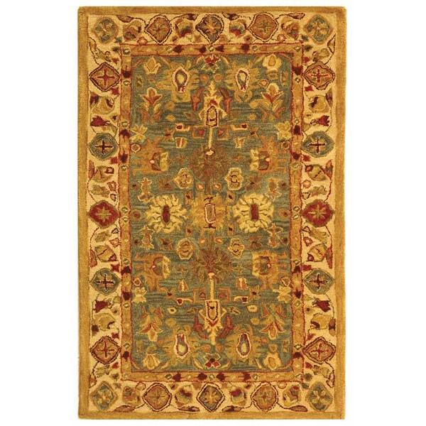Safavieh Handmade Anatolia Oriental Heirloom Blue/ Ivory Hand-spun Wool Rug (3' x 5')