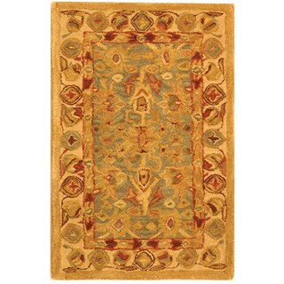Safavieh Handmade Anatolia Oriental Heirloom Blue/ Ivory Hand-spun Wool Rug (2' x 3')