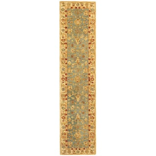 Safavieh Handmade Anatolia Oriental Heirloom Blue/ Ivory Hand-spun Wool Rug (2'3 x 8')