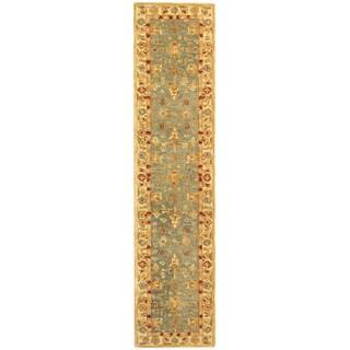 Safavieh Handmade Anatolia Oriental Heirloom Blue/ Ivory Hand-spun Wool Rug (2'3 x 10')