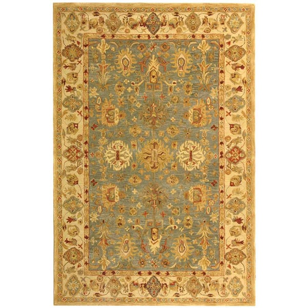 Safavieh Handmade Anatolia Heirloom Blue/ Ivory Wool Rug (9'6 x 13'6)