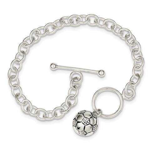 Curata 925 Sterling Silver Polished Antiqued Toggle Closure Soccer Ball Bracelet 7.75 Inch