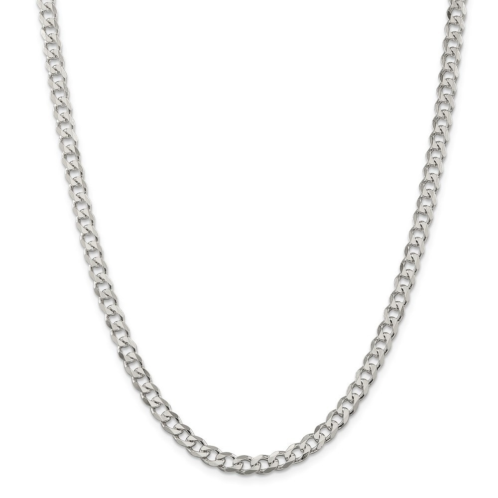 925 Sterling Silver Solid 9mm Polished Curb Link Chain Necklace 8-24