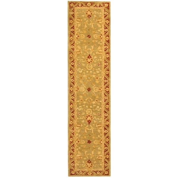 "Safavieh Handmade Anatolia Oriental Kashan Green/ Red Hand-spun Wool Runner Rug - 2'3"" x 8'"