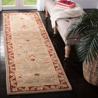Safavieh Handmade Anatolia Oriental Kashan Green/ Red Hand-spun Wool Runner (2'3 x 8')