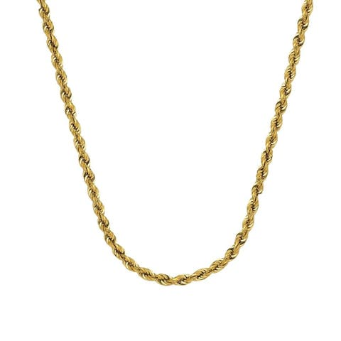 Curata 14k Yellow Gold Hollow Rope Chain Bracelet 4.9mm Lobster Claw Closure 8.50 Inch