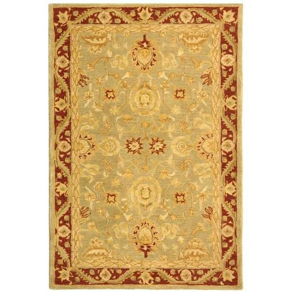 Safavieh Handmade Anatolia Oriental Kashan Green/ Red Hand-spun Wool Rug (4' x 6')