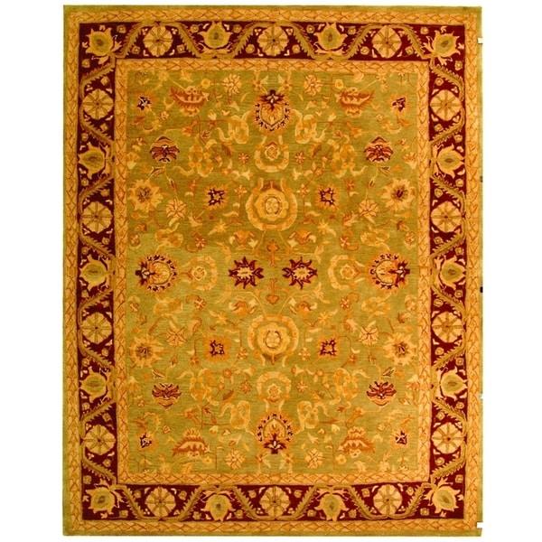 Shop Classical Kashan Medallion Hand Knotted Persian Wool: Shop Safavieh Handmade Anatolia Oriental Kashan Green/ Red