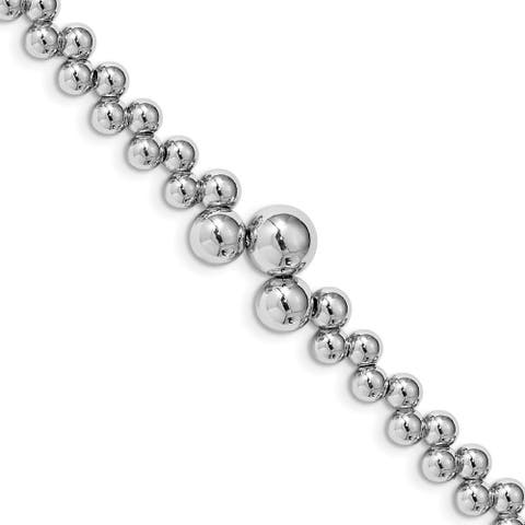 Curata 925 Sterling Silver Polished Unusual Beaded Bracelet 7+1 Inch