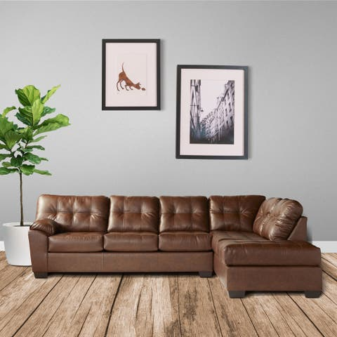 Chania Faux Leather Tufted Sectional Sofa in San Marino Hazelnut