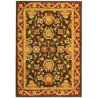 Safavieh Handmade Anatolia Oriental Kashan Charcoal/ Red Hand-spun Wool Rug (4' x 6')