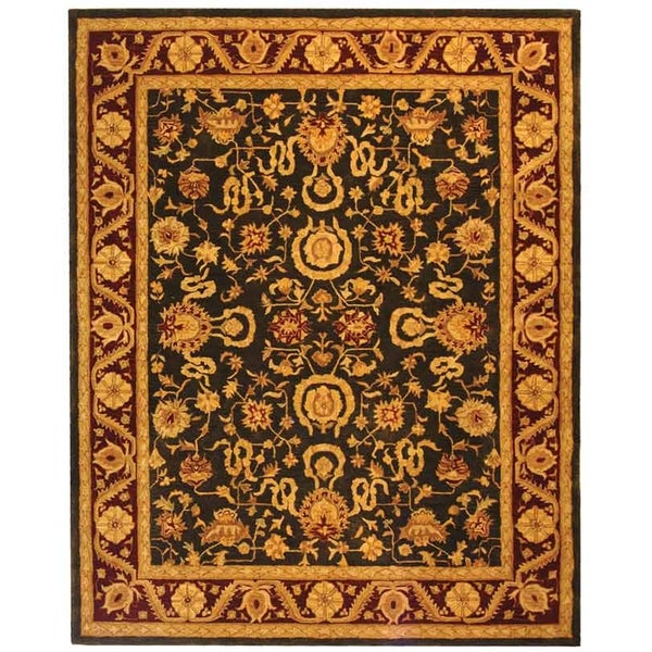 Safavieh Handmade Anatolia Oriental Kashan Charcoal/ Red Hand-spun Wool Rug - 9'6 x 13'6