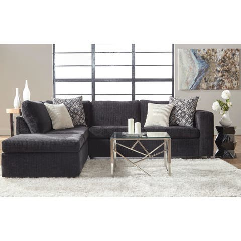 Patras Contemporary Left-hand Facing Sectional Sofa in Ultimate Ebony