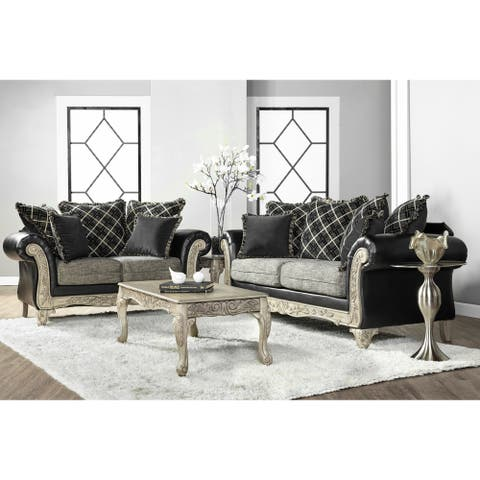 San Marino 2-Tone Fabric Wooden Frame Sofa and Loveseat with 3 Tables Set in Ebony