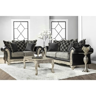 Link to San Marino 2-Tone Fabric Wooden Frame Sofa and Loveseat with 3 Tables Set Similar Items in Living Room Furniture Sets