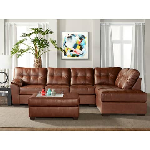 Chania Faux Leather Tufted Sectional Sofa with Ottoman in San Marino Hazelnut