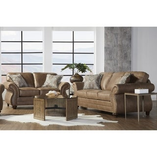 Link to Leinster Faux Leather Sofa and Loveseat with Antique Bronze Nailheads in Jetson Ginger Similar Items in Living Room Furniture Sets