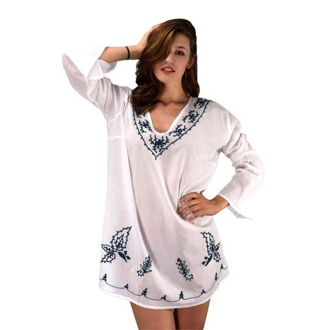 Peach Couture Cotton Embroidered Summer Tunics Beach Cover Ups