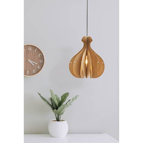 16 In. Mid Century Modern Pendant Vesta Brown Wood Round Ceiling Light