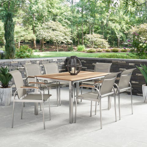 Aruba Stainless Steel & Teak Outdoor 7 Pc. Dining Group