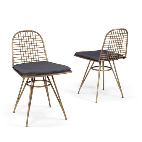 Panama Outdoor Brushed Brass Pair of Wire Frame Chairs