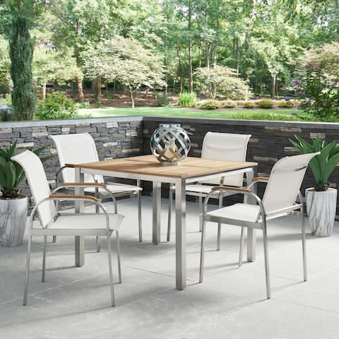 Aruba Stainless Steel & Teak Outdoor 5 Pc. Dining Group