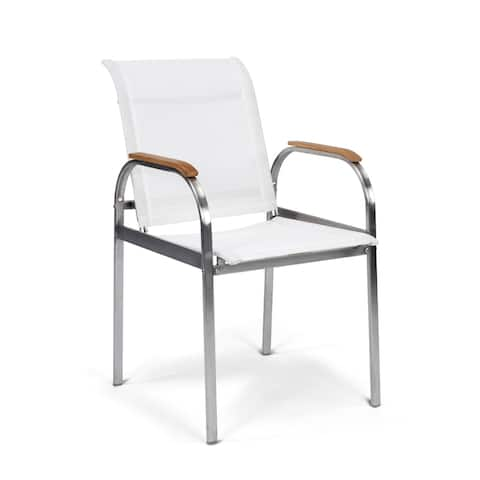 Aruba Stainless Steel Pair of Vinyl Fabric Outdoor Arm Chairs