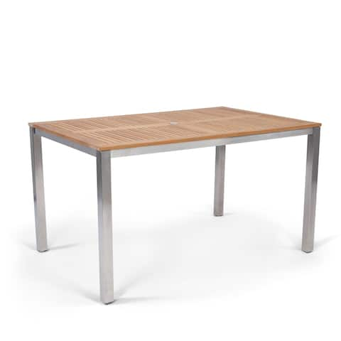 Aruba Stainless Steel & Teak Outdoor Dining Table