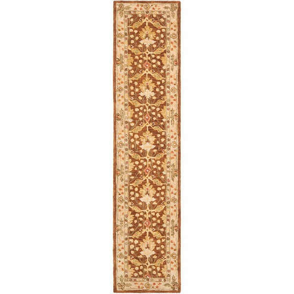 Safavieh Handmade Anatolia Oriental Oushak Brown/ Beige Hand-spun Wool Rug (2'3 x 12')