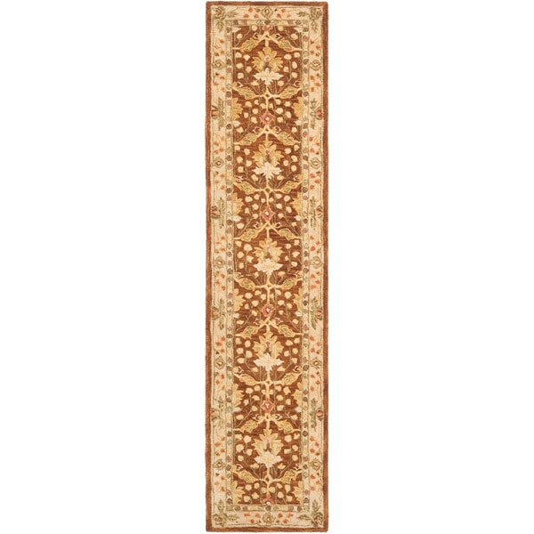 Safavieh Handmade Anatolia Oriental Oushak Brown/ Beige Hand-spun Wool Rug (2'3 x 10')