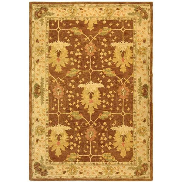 Safavieh Handmade Anatolia Oushak Brown/ Beige Wool Rug (6' x 9')