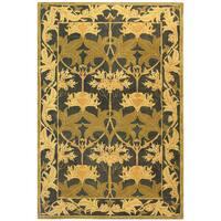 Safavieh Handmade Anatolia Oriental Traditional Navy/ Sage Green Hand-spun Wool Rug - 6' x 9'