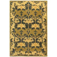 Safavieh Handmade Anatolia Oriental Traditional Navy/ Sage Green Hand-spun Wool Rug (9' x 12')